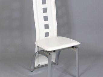 CLEAR SEAT - chaises modernes simili cuir blanc bilbao lot de 6 - Table De Repas Ronde