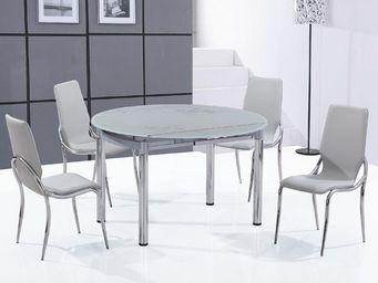 CLEAR SEAT - ensemble table ronde en verre extensible et ses 4  - Table De Repas Ronde
