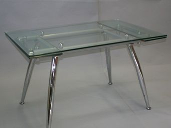 CLEAR SEAT - table en verre � rallonges cristal - Table De Repas Rectangulaire