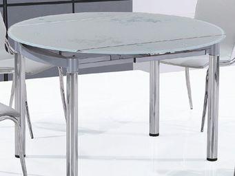 CLEAR SEAT - table en verre ronde nubes - Table De Repas Ronde