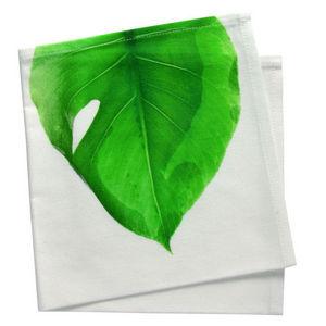 TROIS MAISON - serviette de table motif feuille verte - Serviette De Table