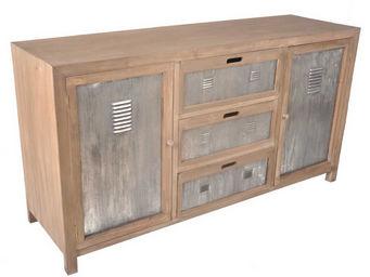 BARCLER - meuble bas industriel en pin et m�tal 151x45x80cm - Meuble De Cuisine