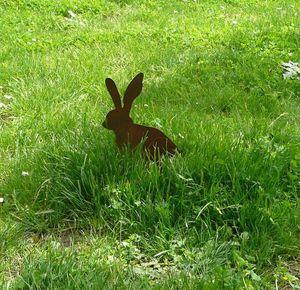 OKE DECORATION - lapin décoratif en métal à poser - Ornement De Jardin