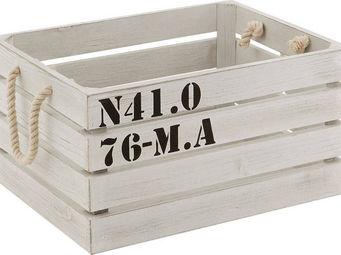 BARCLER - caisse de rangement marina en bois blanc 38x28,5x1 - Boite De Rangement