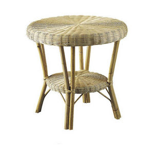 Aubry-Gaspard - table basse en moelle de rotin naturelle et manau  - Table D'appoint
