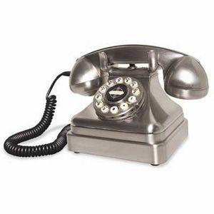 US Connection - téléphone de bureau 50s chromé - Téléphone Décoratif