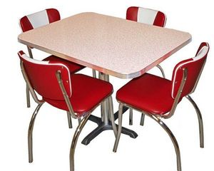 US Connection - set diner : chaises 921v rouge & table glacier - Coin Repas