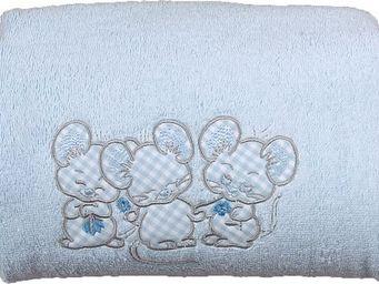 SIRETEX - SENSEI - drap de douche enfant 70x140cm 3 souris bleues - Drap De Bain Enfant