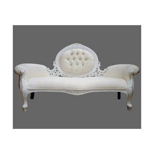 DECO PRIVE - sofa en bois blanc et imitation cuir blanc modele - Canapé 3 Places