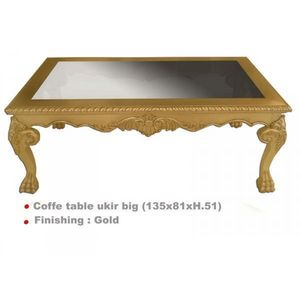 DECO PRIVE - table basse baroque en bois dore 135 x 80 cm ukir - Table Basse Rectangulaire