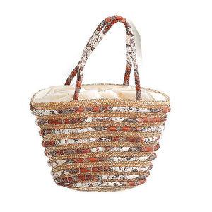 WHITE LABEL - sac panier paille naturelle et tissu doublure unie - Cabas
