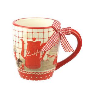 WHITE LABEL - mug en faïence motif cafetière en relief - Mug