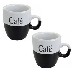 WHITE LABEL - lot de 2 mugs � caf� - Mug