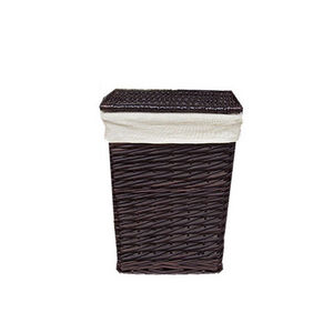 WHITE LABEL - corbeille � linge rectangle en osier fendu choco t - Panier � Linge