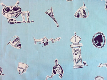 FLEUR DE SOLEIL - tissu paris bleu 160x160 - Tissu D'ameublement