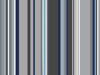 FLEUR DE SOLEIL - tissu rayure gris bleu 160x160 - Tissu D'ameublement