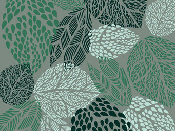FLEUR DE SOLEIL - tissu feuilles turquoise 160x160 - Tissu D'ameublement