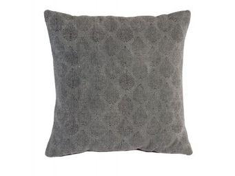BLANC D'IVOIRE - empreinte gris - Coussin Carré
