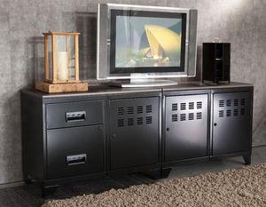 jardindeco - meuble tv en m�tal noir modulable 40x160x59,8cm - Meuble Tv Hi Fi