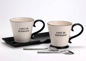 Amadeus - plateau 2 mugs café en terrasse en dolomite 27.5x1 - Tasse À Café