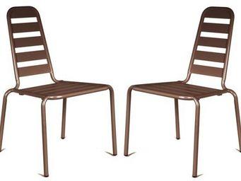 PROLOISIRS - chaise empilable menu nacre en aluminium (lot de 2 - Chaise De Jardin