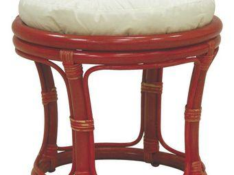 Aubry-Gaspard - tabouret en rotin avec coussin rouge - Tabouret