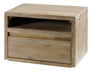 ZAGO - chevet cosmopolitan en teck massif lin 50x40x35cm - Table De Chevet