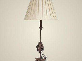 L'HERITIER DU TEMPS - lampe feuille en fer et lin 92cm - Lampe À Poser