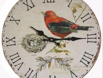 L'HERITIER DU TEMPS - horloge murale bois oiseau rouge ø34cm - Horloge Murale