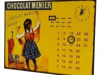 L'HERITIER DU TEMPS - calendrier-pendule plaque pub menier - Horloge Murale
