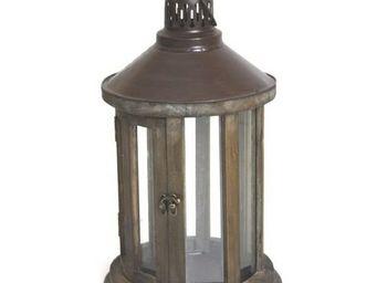 L'HERITIER DU TEMPS - lanterne ronde en bois et fer - Lanterne D'extérieur
