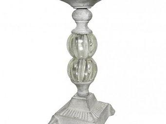 L'HERITIER DU TEMPS - bougeoir en fer et boule de verre - Bougeoir