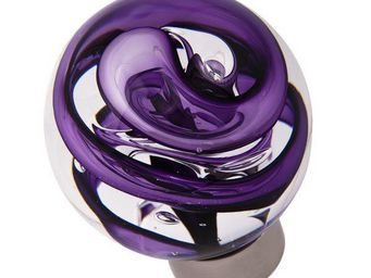 Les Verreries De Brehat - tubes de bulles sph�rique violet - Bouton De Porte