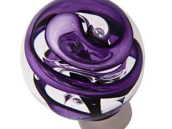 Les Verreries De Brehat - tubes de bulles sphérique violet - Bouton De Porte