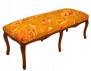 Demeure et Jardin - banquette bout de lit toile de jouy safran - Banquette