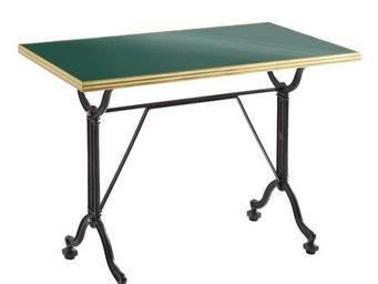 Ardamez - table de repas émaillée vert / laiton / fonte - Table De Repas Rectangulaire