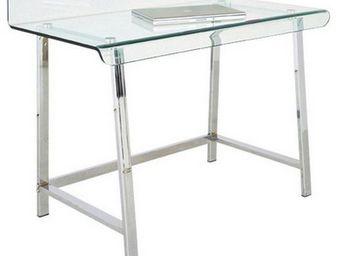WHITE LABEL - bureau clear en verre et acier inoxydable - Bureau