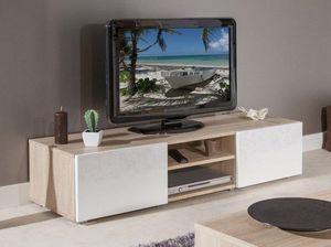 WHITE LABEL - atlantic. meuble tv couleur blanc et chêne bardoli - Meuble Tv Hi Fi