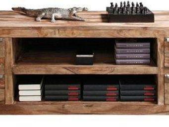 WHITE LABEL - meuble tv wood, 4 tiroirs en bois massif - Meuble Tv Hi Fi