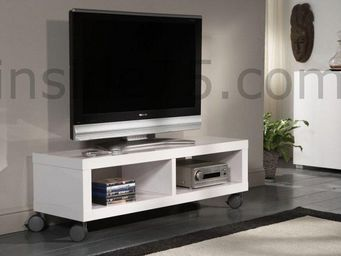 WHITE LABEL - meuble tv design softy avec rangements. - Meuble Tv Hi Fi