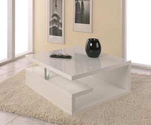 WHITE LABEL - table basse valentine laqu�e blanc brillant avec r - Table Basse Carr�e