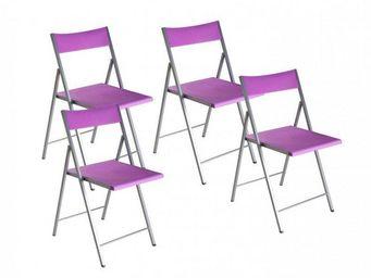 WHITE LABEL - belfort lot de 4 chaises pliantes mauve - Chaise Pliante