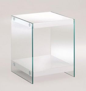 WHITE LABEL - table basse corinne en verre. - Table De Chevet