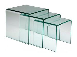 WHITE LABEL - lot de 3 tables gigogne euphoria en verre - Tables Gigognes