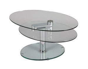 WHITE LABEL - table à plateaux pivotants splash en verre - Table Basse Ronde