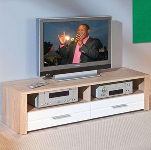 WHITE LABEL - meuble tv absoluto 2 tiroirs et 2 niches en bois b - Meuble Tv Hi Fi