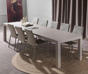 WHITE LABEL - table repas extensible fusion taupe clair - Table De Repas Rectangulaire