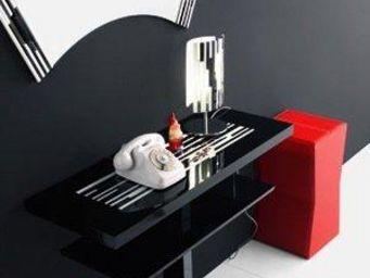 WHITE LABEL - console laque noir design 2 plateaux - Console