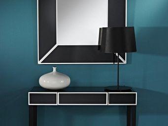 WHITE LABEL - diamant ensemble console et miroir en verre noir - Console