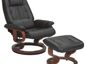 WHITE LABEL - excel fauteuil relax avec repose pieds, cuir noir - Fauteuil Et Pouf